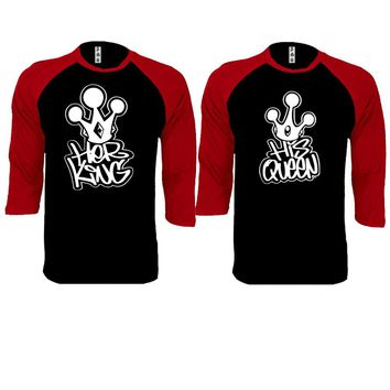 Graffiti King and Queen Couple Black / Red Baseball T-shirt