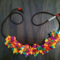 Rainbow Rose Flower Headband, Flower Crown, Flower Halo, Festival Wear, EDC, Coachella, Ezoo,Ultra Music Festival, Rave