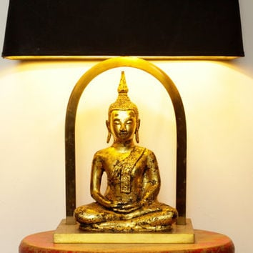 Vintage Buddha Lamp - Buddhist Statue - Asian Bohemian Lighting Decor