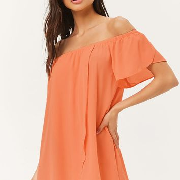 Off-the-Shoulder Swim Cover-Up Dress