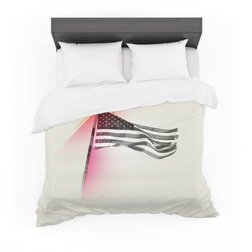 "Just L ""Capture The Flag "" Red Black Featherweight Duvet Cover"