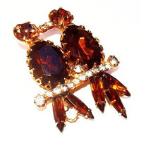 Love Bird Brooch Pair Topaz & Clear Rhinestones Perched on Branch Gold Metal 2' Vintage
