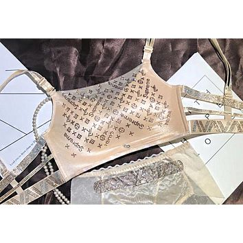 LV Louis Vuitton Fashionable Women Chic Shiny Diamond Bra Apricot