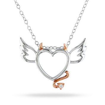 Diamond Accent Devil Heart with Wings Pendant in Sterling Silver