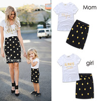 2017 Lovely polka dot mother daughter dresses cotton summer mother and daughter clothes family look kids parent child outfits