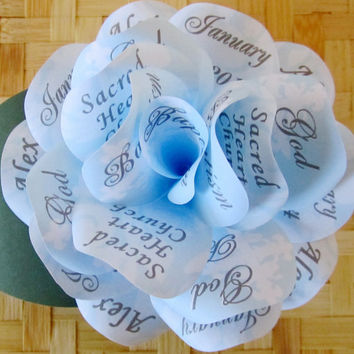 Boy's  Blue Christening Baptism Invitation Paper Rose with Magnet and Individual  Corrugated Mailer Customize it for Birthdays or Showers