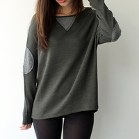 Women shirt, Elbow Patch , Military green shirt, Long sleeves sweater , Elbow Patch top, Jersey Tshirt