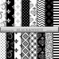 "Black&white damask digital paper:""Black white""with black white damask backgrounds for scrapbooking,invites,cards,web design,instant Download"
