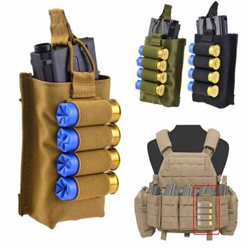 Hunting Tactical Molle Vest Cartridge Bag 12 Gauge Airsoft Shotgun Shells Accessory Magazine Pouches Ammo Holder Military