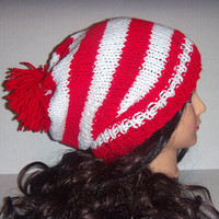 Knitted Christmas Hat, Red and White Striped Slouchy Beanie Hat, Xmas Pom Pom Hat