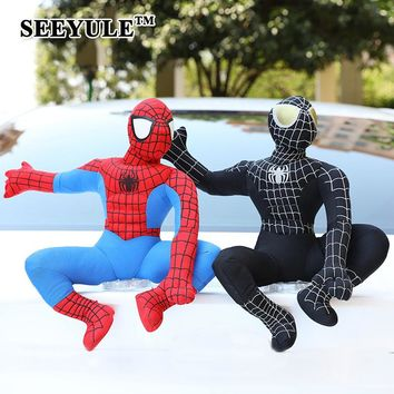 1pc SEEYULE Car Roof Doll Outside Hang Toy Cute Funny Plush Toy Exterior Accessories Decoration Spiderman Superman Batman Minion