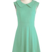 ModCloth Vintage Inspired Mid-length Cap Sleeves A-line Foxtail Fern Dress in Leaf