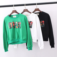 OMG color printing letter sweater