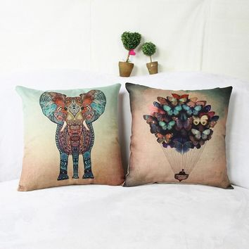 HD print dining chair cushion 45x45cm car seat cushions Home decorative pillow pillowcase Colorful Elephant Printed for bed room