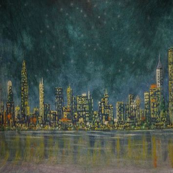 Printed Muslin Scenic New York Cityscape Nightsky Backdrop - 111-9