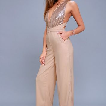 Disco Heaven Beige Sequin Jumpsuit