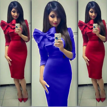 Bow Knot Bodycon Knee-length Pencil Dress