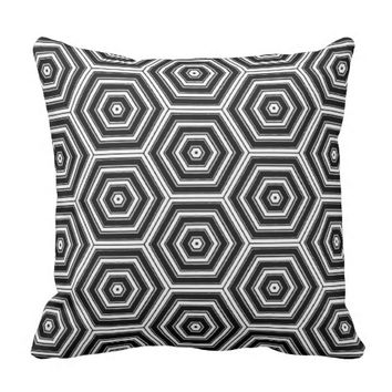 Bold Black White and Grey Hexagon Pattern Print Throw Pillow