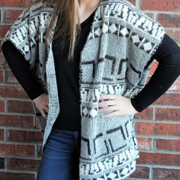Furry Tribal Print Cardigan