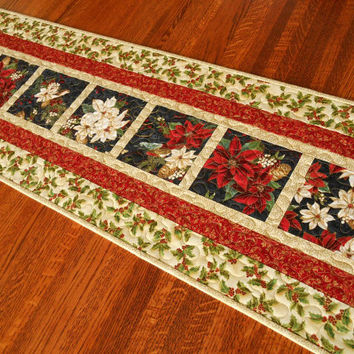 christmas table runner with poinsettias holly and birds quilted christmas table runner traditional red