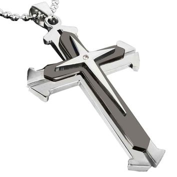 Unisex Men Stainless Steel Cross Pendant Necklace Chain