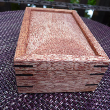 Handcrafted Honduran Mahogany Jewelry/ Keepsake Box with Beveled Lid and Wenge Keys