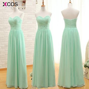 Real Photo Mint Green Bridesmaid Dresses 2016 Summer Style Sweetheart Long Wedding Party Dress Under $50 Pleat vestido madrinha