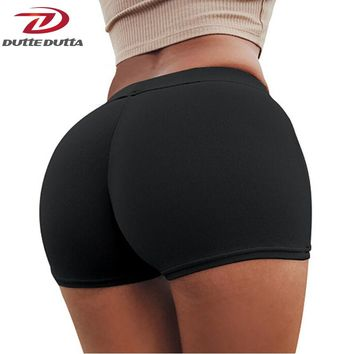DutteDutta Sexy Running Girls Women Yoga Shorts Compression Elastic Workout Fitness Sportswear Gym Solid Peach Buttocks Clothes