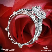 14k White Gold Verragio Pave Cushion Halo Diamond Engagement Ring