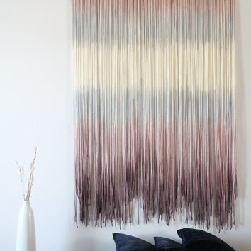 Dip dye Tapestry, OOAK Wall hanging mcm, Large Headboard mid century modern decor, Sunset Beach, nursery wall decor