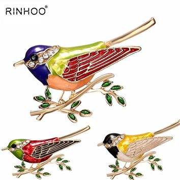 Rhinestone Colorful Enamel Oriole Bird Branch Brooch Pins Men Women's Alloy Bird Brooches For Suits Dress Banquet Brooch Gift