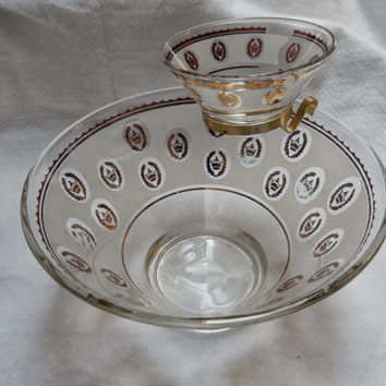 Tiered Chip and Dip Serving Set With Gold Design