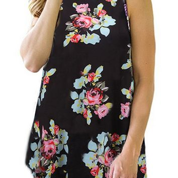Floral Tunic Tops for Women Casual Summer Round Neck Flowy Sleeveless Tunic Tanks with Flare Hem Small Black Work Tunics Shirts