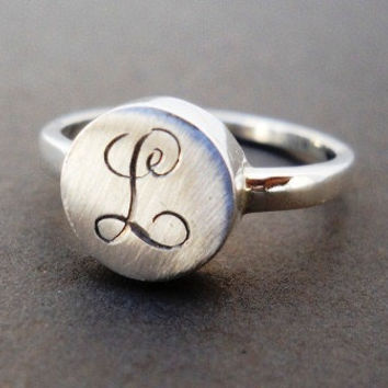 Initial engraved ring Letter Monogram engraved ring by hellothula