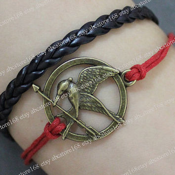Hunger Games Bracelet-Mockingjay Bracelet Leather Bracelet Adjustable red rope bracelet