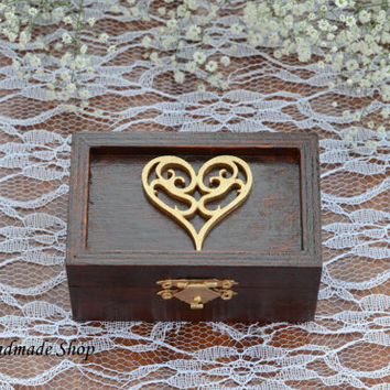 Ring Box, Ring Bearer Box, Wedding Ring Pillow in Mahogany color