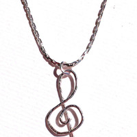 Violin key necklace, music necklace, musician necklace, gift, silver plated, hammered, handmade