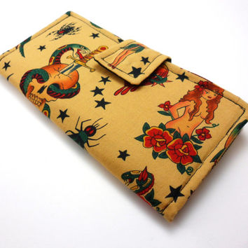 Handmade Tattoo Print Bifold Clutch Fabric Wallet- Tan and Black