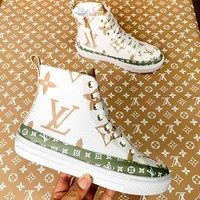 Free shipping-LV high-top letters printed logo sports shoes white