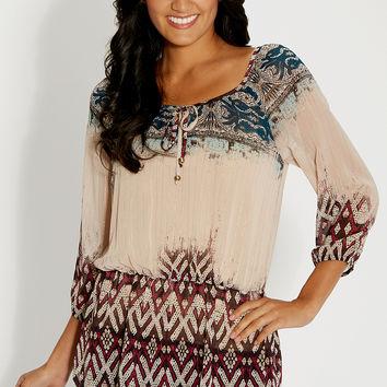 patterned peasant top with goldtone metallic stitching