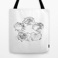 Happy Pug does the Spin and Bark! Tote Bag by InkPug   Society6