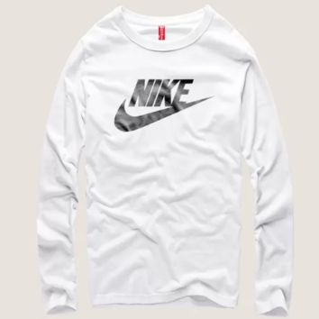 Nike men's memo printed round neck long sleeve cotton T-shirt