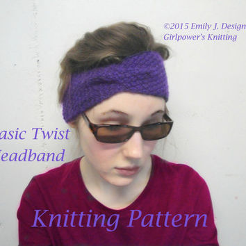Basic Twist Headband Knitting Pattern, Turban Style, Easy Knit, Girls & Women, Worsted Yarn