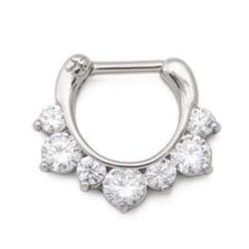 Painful Pleasures UR562 16g Seven Crystal Jeweled Steel Septum Clicker - Price Per 1 - Sears