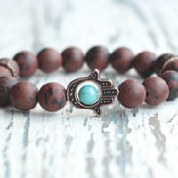 Hamsa bracelet Good Luck beaded Bracelet for men hand brown bracelet gemstone gift for boyfriend buddhism jewelry bracelet hand Obsidian