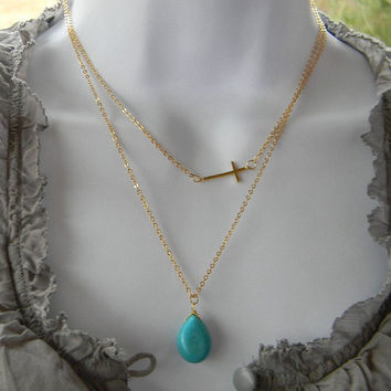 Sideways Cross and Turquoise Layered Necklace-Double Necklace-Layering Piece