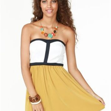 A'GACI Contrast Colorblock Flare Dress - Dresses