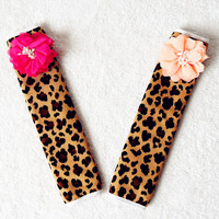 Leopard Seat Belt Cover with Flowers (2X)