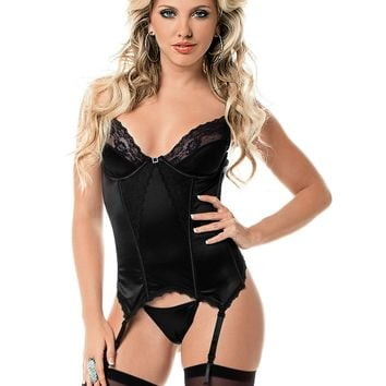Sexy Satin and Lace Bustier