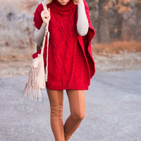 Over The Top Chunky Cable Knit Poncho (Red)